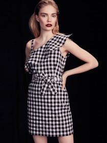 Womens Black Gingham One Shoulder Dress