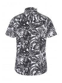Mens Black Tropical Short Sleeved Shirt