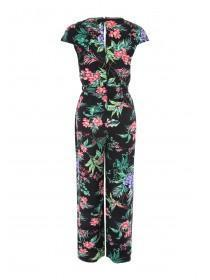 Womens Black Floral Lace Trim Jumpsuit