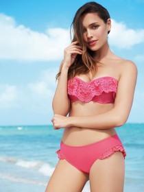 Womens Pink Lace Trim Bikini Top