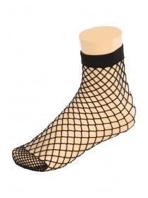 Womens 1pk Black Ankle Fishnets