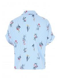 Womens Blue Floral Boxy Crop Shirt
