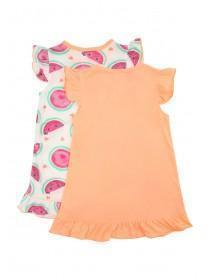 Girls 2pk Orange Melon Nightdresses