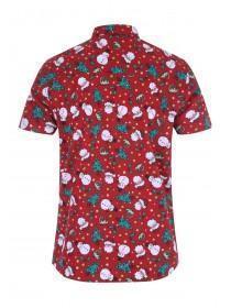 Mens Red Christmas Short Sleeve Shirt