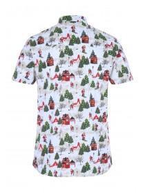 Mens White Christmas Short Sleeve Shirt