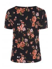 Womens Black Floral Knot Front T-Shirt