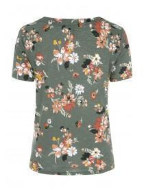 Womens Khaki Floral Knot Front T-Shirt
