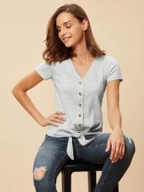 Womens Natural Ribbed Button Through Top