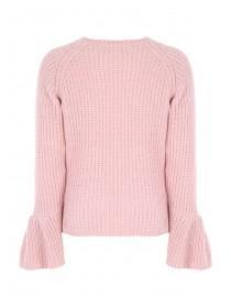 Womens Pale Pink Chenille Bell Sleeve Jumper