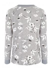 Womens Grey Floral Lounge Top