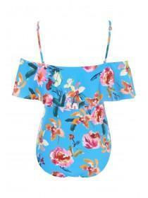 Womens Blue Tropical Print Bardot Swimsuit
