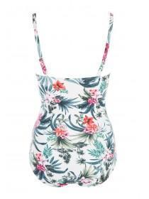 Womens White Tropical Print Swimsuit
