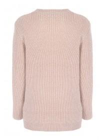 Womens Pale Pink Long Line Jumper