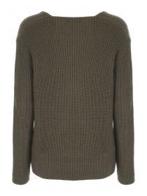 Womens Khaki V-Neck Jumper