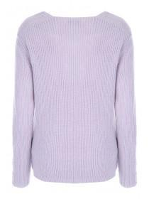 Womens Lilac V-Neck Jumper