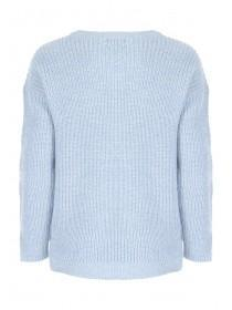 Womens Light Blue Eyelet Sleeve Jumper