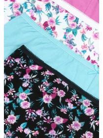Womens 4pk Pink Floral Briefs