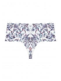 Womens Blue Paisley Lace Thong