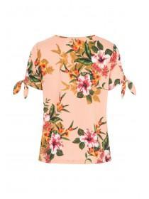 Womens Coral Floral Tie Sleeve T-Shirt