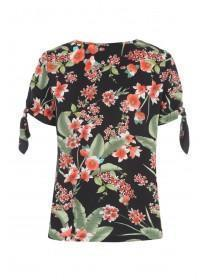 Womens Black Floral Tie Sleeve T-Shirt