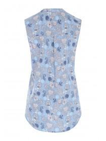 Womens Blue Paisley Sleeveless Top