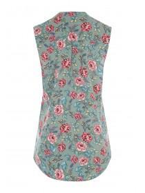 Womens Khaki Floral Sleeveless Top