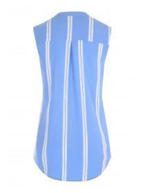 Womens Blue Stripe Sleeveless Top