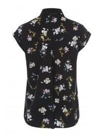 Womens Black Floral Sleeveless Blouse