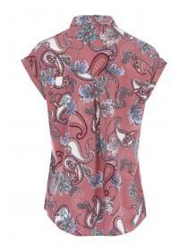 Womens Dark Pink Paisley Short Sleeve Blouse