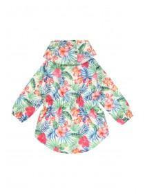 Younger Girls White Tropical Rain Coat