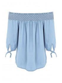 Womens Blue Shirred Bardot Top