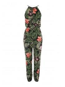 Womens Green Tropical Halterneck Jumpsuit