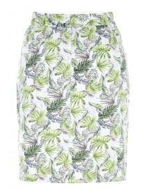 Womens Green Leaf Linen Skirt