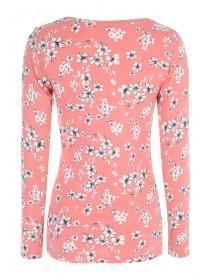 Womens Coral Floral Top