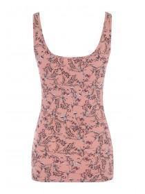 Womens Pink Floral Printed Vest