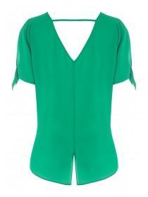 Womens Green Tie Sleeve Top