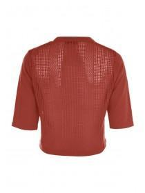 Womens Rust Cropped Pointelle Cardigan