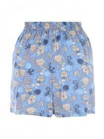Womens Blue Floral Shorts