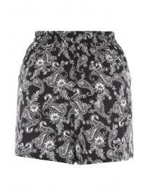 Womens Monochrome Paisley Shorts