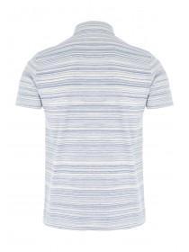 Mens Blue Textured Polo Shirt