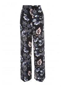 Womens Navy Floral Wide Leg Trousers