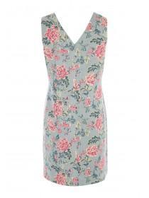 Womens Khaki Floral Linen Dress