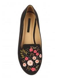 Womens Black Embroidered Flats