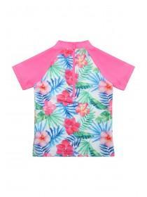 Younger Girls Pink Tropical Sun Safe Swim Set
