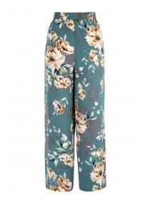 Womens Teal Floral Wide Leg Trousers