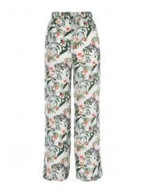 Womens White Floral Wide Leg Trousers