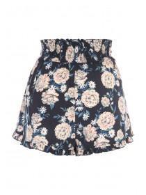 Womens Navy Floral Frill Shorts