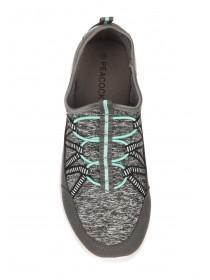 Womens Grey Elastic Lace Up Trainers