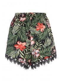 Womens Black Tropical Crochet Trim Shorts