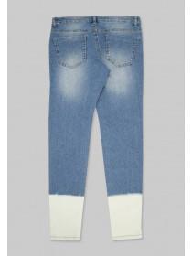 Older Girls Blue Bleached Hem Jeans